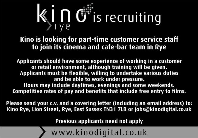 Kino Rye job advertisement. Send CV and covering letter by email to jobs@kinodigital.co.uk