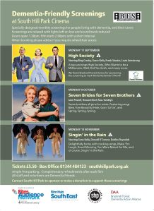 Dementia friendly screenings at South Hill Park poster