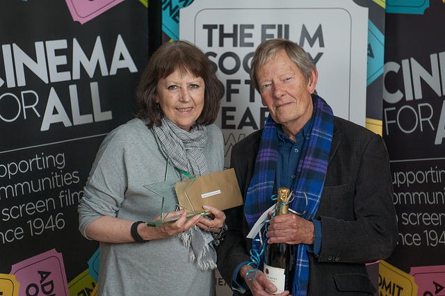 Cathy Stewart accepts Seaford Community Cinema's award